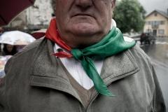 Malesco (VB), Frazione di Finero, Italia. Il fazzoletto dell'ANPI al collo di Albino Barazzetti, rappresentante della sezione di Malesco dell'associazione.